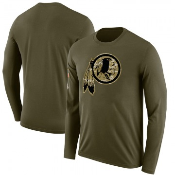Men's Blank Washington Redskins Salute to Service Sideline Olive Legend Long Sleeve T-Shirt