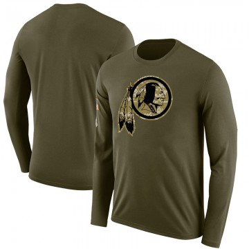 Youth Blank Washington Redskins Salute to Service Sideline Olive Legend Long Sleeve T-Shirt